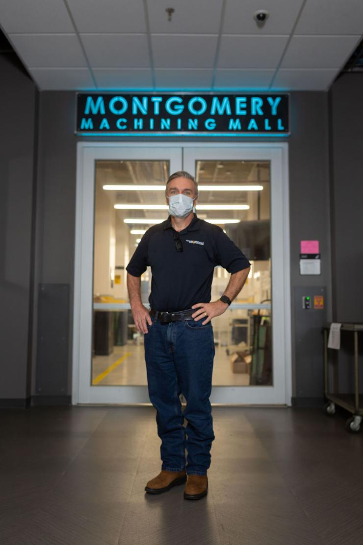 Steven Sheffield at the Woodruff School of Mechanical Engineering's Montgomery Machining Mall. (Photo by Allison Carter)