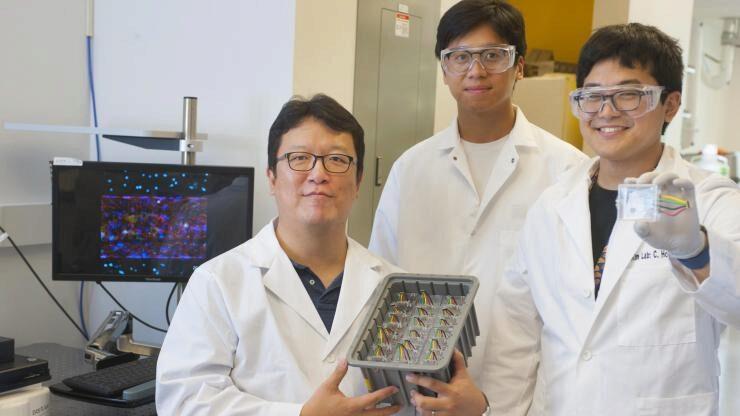 Principal investigator Tony Kim with graduate research assistant Yoshitaka Sei (r.) and research engineer Jiwon Yom (m.) in Kim's lab at Georgia Tech.